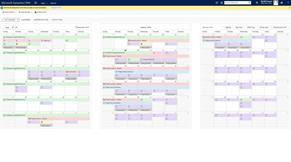 A full three month planner view from MyCRM's ePlanner solution (PRNewsfoto/MyCRM Limited)
