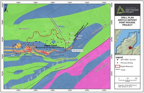 Exhibit A.  A geological map of the Argyle area showing the deposit outlined in red and the location of recent drilling.  Drilling indicates that the trend of mineralization changes towards the northeast-southwest from east-west at the deposit.  A geophysical survey will be conducted in this area to determine the location of the surface expression of the deposit east of existing drilling. (CNW Group/Anaconda Mining Inc.)