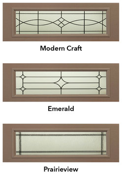 New Decorative Glass Collection window options in garage doors from Haas Door include Modern Craft, Emerald and Prairieview.