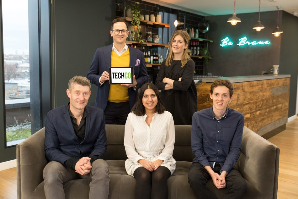 MVF celebrates acquisition of Tech.co.  Left to right:  Titus Sharpe - CoFounder and President, Michael Teixeira - CEO, Samairah Maqsood - Sales Director, Grace Garland - Head of PR and Outreach, Michael Horrocks - Publishing Operations Director
