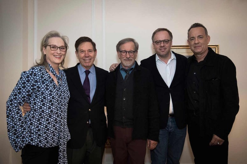 Meryl Streep, Peter Price, Stephen Spielberg, Christophe Deloire and Tom Hanks attend the Reporters Without Borders (RSF) premiere of The Post in Paris. Photo credit: L'Agence France-Presse.