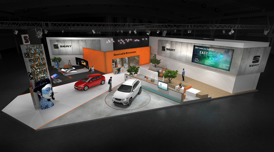 SEAT layout render at the Mobile World Congress (PRNewsfoto/SEAT SA)