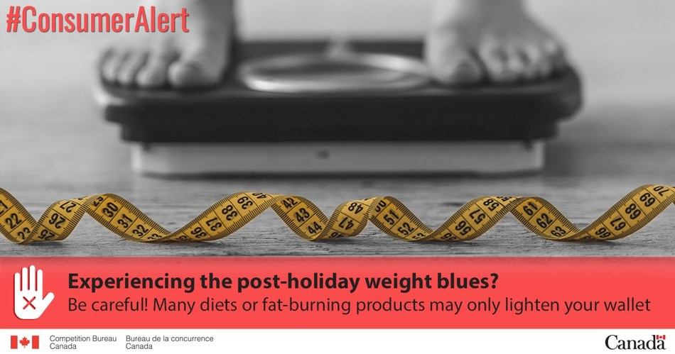 Experiencing the post-holiday weight blues? Be careful! Many diets or fat-burning products may only lighten your wallet (CNW Group/Competition Bureau)