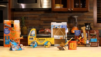 As part of its larger partnership with Rube Goldberg, Inc., General Mills Cereal introduces specially-marked boxes of iconic General Mills cereals, including Cheerios, Cinnamon Toast Crunch, Cocoa Puffs, Cookie Crisp, Lucky Charms and Reese's Puffs. Each box includes easy-to-follow instructions to transform the packaging into one of six Rube Goldberg-inspired simple machines.