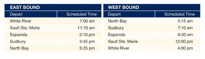 Schedule for West Route as of January 15th, 2018 – North Bay, Sudbury, Sault Ste. Marie and White River (CNW Group/Ontario Northland Transportation Commission)