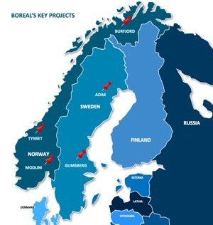 Figure 1.  Location of Boreal's Key Projects (CNW Group/Boreal Metals)