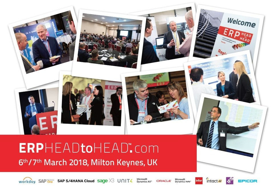 Compare 12 leading ERP products at the HEADtoHEAD™ event taking place on 6 / 7 March, Milton Keynes, UK. The event is aimed at organisations that are planning to upgrade or replace their ERP systems. Delegates can choose to attend presentations focused on Finance, Production, Procurement, HR, Projects and Sales. Attendees can make a choice – attend for one day and review three/four products or attend for two days and review seven. Find out more at: http://www.erpheadtohead.com (PRNewsfoto/Lumenia Consulting)