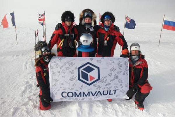 After 56 days skiing over 600 miles, the South Pole Energy Team has reached the South Pole. Pictured here with Commvault CMO Chris Powell, who joined the team for its last week and final 60 miles, at the South Pole with Commvault flag signed by employees from all over the world. Current weather at South Pole: Windchills -37 Celsius... true temp -28 Celsius! Commvault serves as the official Data Partner for the expedition organization 2041.com, assuring all data is protected.