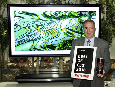 The LG AI OLED C8 TV was awarded the Official CES Best TV Product Award presented by Engadget, marking the fourth consecutive year LG has been honored with this award.