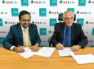 Ashok Rajan, Head - Airline Cargo Services, IBS Software and Richard Mujais - General Manager, Middle East Airlines Ground Handling signing the deal