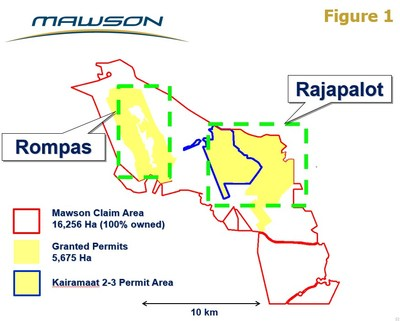 Figure 1: Location of Kairamaat 2-3 with respect to Mawson Exploration Permit Area at the Rompas-Rajapalot project in Finland (CNW Group/Mawson Resources Ltd.)