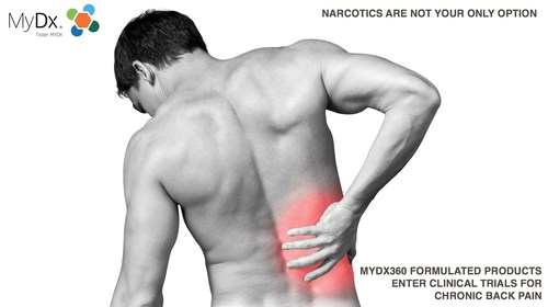 MYDX360 FORMULATED PRODUCTS ENTER CLINICAL TRIALS FOR CHRONIC BACK PAIN (PRNewsfoto/MyDx, Inc.)