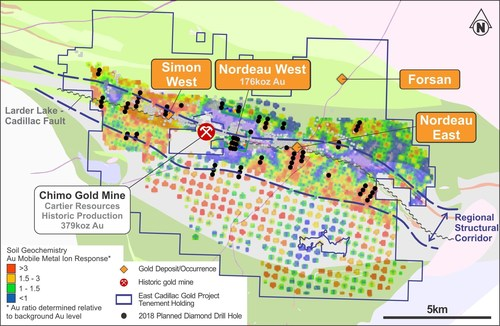 Figure 1- Project location map including the new 2018 drilling targets and 2017 MMI geochemistry (CNW Group/Chalice Gold Mines Limited)
