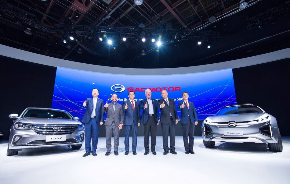 Yu Jun, President of GAC Motor; Ryan LaFontaine, Chairman of 2018 NAIAS; Feng Xingya, President of GAC Group; Rick Snyder, Governor of State of Michigan; Zhang Qingsong, Deputy President of GAC Group and Wang Qiujing, president of GAC Engineering with the GA4 and the Enverge.