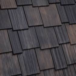 The Nature Crafted Collection from DaVinci Roofscapes features three new nature-inspired colors on DaVinci Multi-Width and Single-Width Shake composite roofing tiles. Shown here: Black Oak color, reminiscent of natural cedar shingles that have aged to a dark cedar color on a roof.