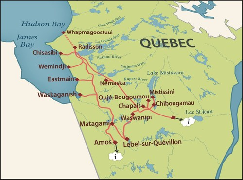 ECN Fibre Crosses the North: Eeyou Istchee/James Bay Region of Quebec - Map of the 3,500Km Eeyou Communications Fibre Network (CNW Group/Distributel Communications Limited)