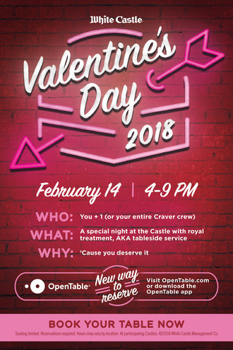 White Castle® Partners With OpenTable For Annual Valentine's Day Dinner