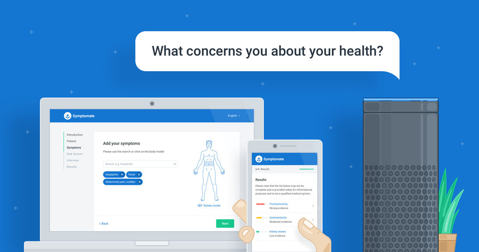 Symptomate – web app, mobile app and voice assistant (PRNewsfoto/Infermedica)