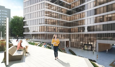 Example of Skanska's office building covered by semi-transparent perovskite solar modules. Perovskites are integrated into property's façade without changing its design and esthetics. (PRNewsfoto/Skanska Commercial Development)