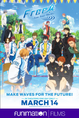 """""""Free! -Take Your Marks-"""" official theatrical poster. Courtesy of Funimation Films."""