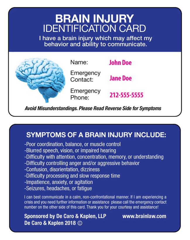 Personalized brain injury identification card from De Caro & Kaplen, LLP
