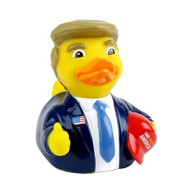 "Trump rubber duck holding his ""Take Quack America"" hat. Trump ducks outsell all other rubber ducks at Essex Duck (essexduck.com)."