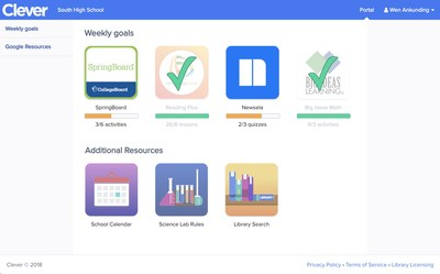 Students track their progress towards weekly goals inside the Clever Portal, which helps them gain independent learning skills and better understand their areas for improvement.