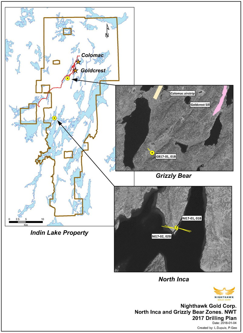 Figure 1.  Plan View – Grizzly Bear and North Inca Drillhole Locations (CNW Group/Nighthawk Gold Corp.)