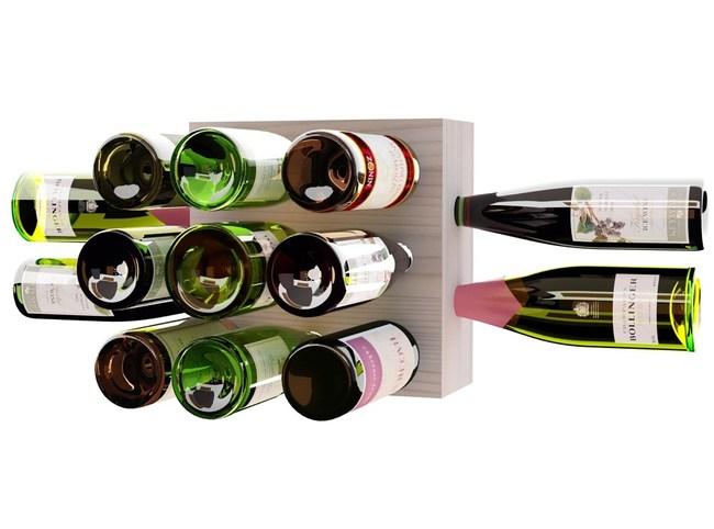 13 Wine Bottle Wall Wine Rack in Whitewash Stain