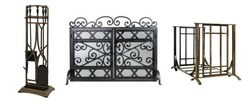 The Regal Tool Set in bronze, the Milan Log Rack in bronze, and the Wales firescreen in black.
