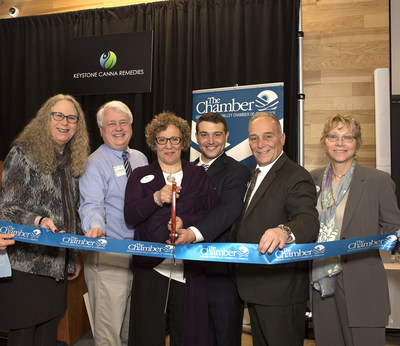 Keystone Canna Remedies Ribbon-Cutting Ceremony for PA's first Medical Marijuana Dispensary. Left to right: Dr, Rachel Levin, PA Physician General and Acting Sec. PA Dept. of Health; State Rep. Steve Samuelson; Joan Guadagnino, Chief Operating Officer, Keystone Canna Remedies; Victor Guadagnino, Chief Business Development Officer Keystone Canna Remedies; Victor Guadagnino, M.D., Chief Medical Officer, Keystone Canna Remedies, Patricia Gregory, V.P. and General Counsel, Keystone Canna Remedies