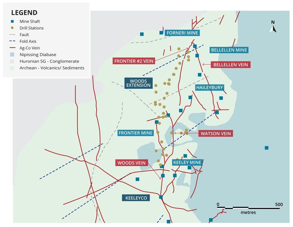 Figure 1. Bedrock geology of the Keeley-Frontier-Bellellen mines in Cobalt South area. (CNW Group/First Cobalt Corp.)