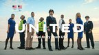 nine United employees including flight attendants, ramp workers, customer service agents and pilots stand in uniforms on tarmac with United logo over them