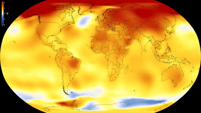 This map shows Earth's average global temperature from 2013 to 2017, as compared to a baseline average from 1951 to 1980, according to an analysis by NASA's Goddard Institute for Space Studies. Yellows, oranges, and reds show regions warmer than the baseline. Credits: NASA's Scientific Visualization Studio