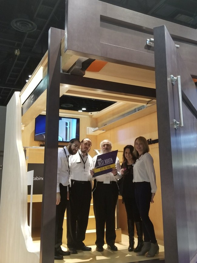 KBIS best of show best booth award in the Fabuwood lifesize cabinet.