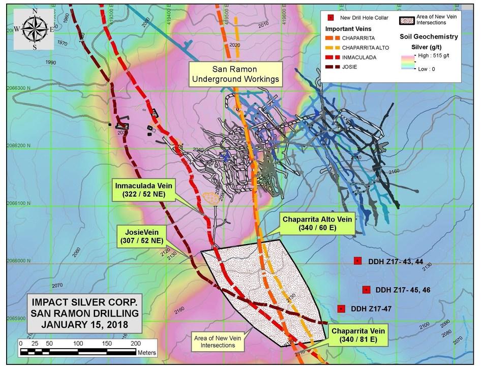 San Ramon Underground Workings - Map (CNW Group/IMPACT Silver Corp.)