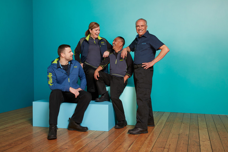 Alaska Airlines, Virgin America and Horizon Air ground and maintenance workers show off the new uniform collection featuring several layered mix-and-match pieces making it flexible for employees who work in different climates.