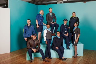 Employee models from across the company show off Alaska Airlines' custom designed uniforms unveiled Jan. 18, representing a fresh, modern West Coast look.