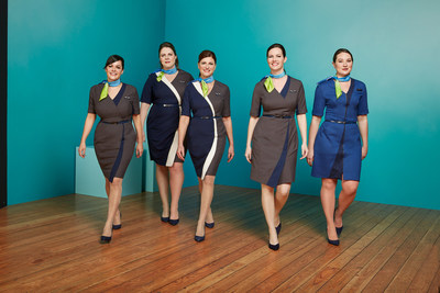 Alaska Airlines, Horizon Air and Virgin America flight attendants model various styles being tested over the next 60 days. The flight attendant dresses feature asymmetrical hemlines, pops of color and custom-branded reversible belts.  The dresses are complemented by an original Luly Yang Aura scarf.