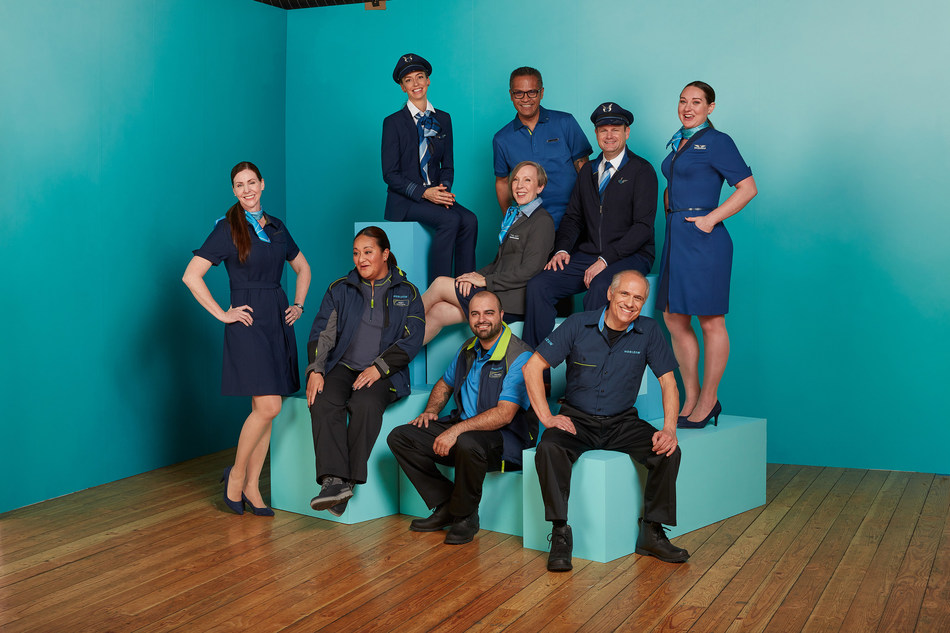 Employees from Alaska Airlines' regional partner Horizon Air show off the range of new uniform pieces. The Horizon collection complements Alaska Airlines' uniform collection and includes signature wings and Horizon's logo.