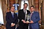 Israeli Ambassador Mttanya Cohen with President Morales Accepting Friend of Zion Award from Dr. Mike Evans.