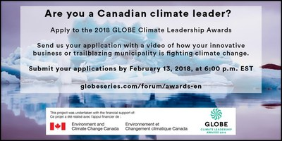 Is your city or business a climate leader? Apply for a 2018 GLOBE Climate Leadership Award by February 13th. Winners announced at #GLOBEForum globeseries.com/forum/awards-en @environmentca @GLOBE_Series (CNW Group/GLOBE Series)