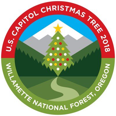 Oregon's Willamette National Forest was selected to choose and supply the People's Tree for 2018 for the grounds of the Capitol Building in Washington, D.C. The Willamette National Forest, together with Travel Oregon, has designed a logo that captures the beauty of the State of Oregon and the Willamette National Forest, with its snowcapped mountain, fields of green and lush forests. The trail leading to the tree symbolizes the adventurous spirit of Oregonians since early settlers first traversed the Oregon Trail. The logo encourages modern-day adventurers to #FindYourTrail in the Willamette National Forest.
