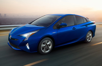 front side view of the 2018 Toyota Prius, which is one of just four hybrid cars offered by Roberts Toyota.