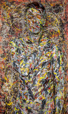 "Trina Merry's interpretation of Jackson Pollock's painting ""No., 5, 1948"" which  famously sold for $140,000,000. Trina's version, which includes model Roberto Aguair camouflaged into the painting, is appropriately named"