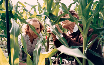 Robert Martienssen with his mentor Barbara McClintock at CSHL, ca. 1990