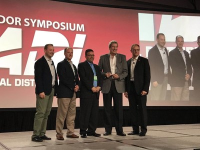 """Hikvision's senior director, distribution, Gordon Lang (second from right) accepts the ADI Global award for """"Best Sales Support North America 2017."""" Pictured from left, Marco Cardazzi, ADI VP of global marketing; Chris Zenaty, Hikvision VP of sales; Sam Belbina, Hikvision VP of enterprise solution sales; Lang; and Rob Aarnes, president of ADI Global Distribution."""