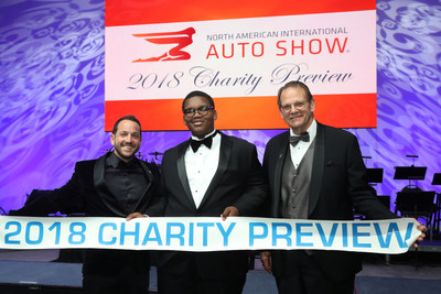 (Pictured L to R) - 2018 NAIAS Chairman, Ryan LaFontaine, Charity Preview Child Ambassador, 2018 NAIAS Vice Chairman Bill Golling. (PRNewsfoto/North American International Au)