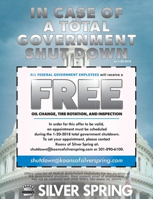 In show of outreach, Koons of Silver Spring offers free oil change, vehicle services, to all federal government employees during 2018 federal government shutdown.