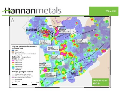 Figure 1: Regional soil sampling around the Kilbricken project, showing location of seven new targets areas. (CNW Group/Hannan Metals Ltd.)